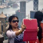 Taking selfies on Victoria Peak, Hong Kong