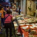 At a fishmonger's stall on Nelson Street in Mongkok, Hong Kong